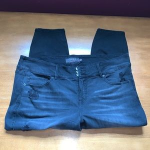 Torrid Plus Size 24 Extra Short Distressed Black Jeans Denim Pants Bottoms
